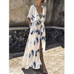 Оригинал Богемный Цветочный High Split Платье