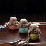 Оригинал 6 типов говорят, слышат, не видят злой статуи монаха Будды Керамический Чай Украшения на полках для животных