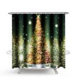 Оригинал 1.8M Рождество Водонепроницаемы Ванная комната Занавеска для душа Золото Xmas Tree Decor 12 Крюк
