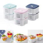 Оригинал XiaomiKalar920млКвадратныйОбедКоробка Двухслойный пищевой контейнер для пикника Bento