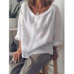 Оригинал S-5XL Женское Хлопковая блузка с рукавами 3/4 из сплошного цвета