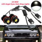 Оригинал 80 Вт LED Angel Eyes Фары Halo Ring Лампы Лампы CANBUS Безошибочная Белый 2 ШТ. Для BMW E39 E60 E53