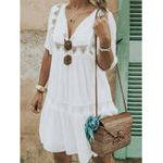 Оригинал Повседневная повседневная V-образным вырезом с коротким рукавом Hollow Holiday Loose Платье