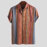 Оригинал МужскиелетниеColorfulполосатыепрактичныекарманные рубашки