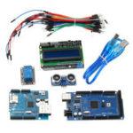 Оригинал Mega 2560 R3 Для Arduino Набор + HC-SR04 + Макетная Кабель + релейный модуль + W5100 UNO Щит + LCD 1602 Щит клавиатуры