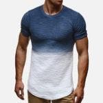 Оригинал Mens Gradient Color с коротким рукавом O-образным вырезом Summer Casual Loose