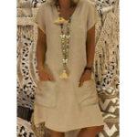 Оригинал Женский карман с коротким рукавом Solid Платье