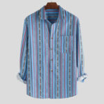 Оригинал Мужская полосатая печать Грудь Карманный Половина рукава Мода Рубашка