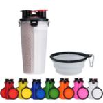 Оригинал Портативный2-в-1кормдлядомашнихживотных Воды Контейнер для пищевых продуктов с 2-мя складными Силиконовый Чаша для домашних животных