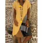 Оригинал Женщины Повседневная Лоскутная с короткими рукавами V-образным вырезом Платье