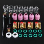 Оригинал 41PCS Сварочная горелка TIG Stubby Gas Объектив Стеклянная чашка Набор для WP17 / 18/26 + коробка