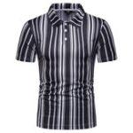 Оригинал Мужские черные белые полосы печать летние рубашки для гольфа