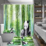 Оригинал 4 Шт. Panda Бамбука Декор Нескользящей Коврик Крышка Унитаза Крышка Коврик для ванной Занавески для Душа для Ванная комната