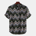 Оригинал Мужские этнические шевроны с принтом повседневные свободные рубашки Henley