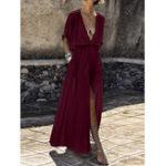 Оригинал Сплошной цвет с v-образным вырезом Свободный повседневный Пляжный Split Maxi Платье