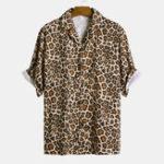 Оригинал Рубашки с короткими рукавами и леопардовым принтом Revere
