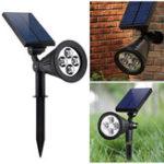 Оригинал 2-в-1СадСолнечнаяСвет4LED Солнечная Прожектор Регулируемый На открытом воздухе Стена Лампа Ландшафтное охранное освещение для внутрен