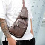 Оригинал Man Soft PU Chest Bag Large-capacity Chest Bag