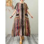 Оригинал Повседневные Женское полосатые карманы с коротким рукавом с круглым вырезом Платье