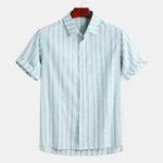 Оригинал Мужскиелетниеполосатыерубашкискоротким рукавом повседневные рубашки