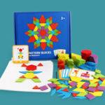Оригинал 155Pcs/Set Wood Blocks Kits Early Bright Education Puzzle Toys Geometric Shape Jigsaw Puzzle Toy
