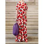 Оригинал Винтажный цветочный принт с v-образным вырезом с коротким рукавом Женское Maxi Платье