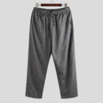 Оригинал Mens Vintage Cotton Drawstring Ankle Length Pants