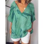 Оригинал Женская футболка с короткими рукавами и V-образным вырезом