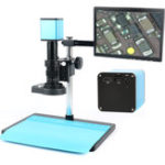 """Оригинал Автофокус HDMI TF Видео Промышленный микроскоп с автофокусом камера + Объектив C-Mount 180X + подставка + 144 LED Кольцевой свет + 10,1 """"LCD"""