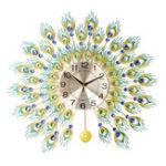 Оригинал DIY 3D Металлический Павлин Стены Часы Кристалл Алмаза Часыs Часы Украшения Главная Гостиная Отель Декор Ремесел Подарок Большой 70×70 см