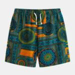 Оригинал Mens Ethnic Шаблон Печатные дышащие летние повседневные шорты