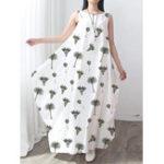 Оригинал O-образный вырез без рукавов с принтом Женское Baggy Maxi Платье