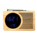 Оригинал Ретро Бамбук LED Цифровой FM Радио Сигнализация Часы Звук Контроль Время Дата Температура для Спальни Офиса Дома