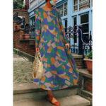 Оригинал Повседневный хлопок Женское с длинным рукавом с геометрическим принтом Платье