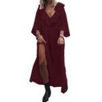 Оригинал Женский сплошной цвет V Шея с длинными рукавами Maxi Платье