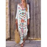 Оригинал Женский богемный V-образный вырез с цветочным принтом с длинным рукавом Maxi Платье