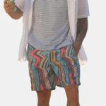 Оригинал MenColorfulStripeДизайнПляжныйБыстросохнущие шорты для доски