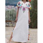 Оригинал Ретро Женское V-образным вырезом в этническом народном стиле с коротким рукавом Платье