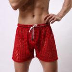 Оригинал MensMeshHolesСексуальныйПрозрачныесплошные шорты для шорты