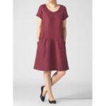 Оригинал Ретро Женское Pure Color с коротким рукавом Mid Long Платье с карманами