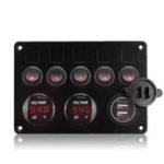 Оригинал  5 Gang ON-OFF Rocker Switch Panel Двойное зарядное устройство USB LED Вольтметр 12-24 В для Авто Лодка Морской грузовик RV