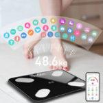 Оригинал MrosaaDigitalSmartAPPЭлектронныйвес Шкала Жир Шкала Смарт BMI Шкала LED Беспроводной вес Шкала APP Control