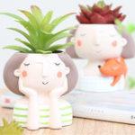 Оригинал Сочные Растение горшок милая девушка цветок Растениеer Creat Дизайн Главная Сад украшения