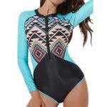 Оригинал Long-Sleeved One-Piece Printing Zipper Swimwear
