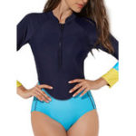 Оригинал One-Piece Long Sleeve Sun Protection Zipper Swimwear