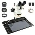 Оригинал  Стереомикроскоп 3.5X – непрерывное увеличение с 90-кратным увеличением + большая алюминиевая подставка + 56 LED кольцевой светильник + Объектив