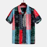 Оригинал МужчиныColorfulБанданаспринтоми короткими рукавами Revere Shirts