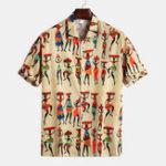 Оригинал Мужские летние принты Кнопки Fly Breathable Повседневные рубашки