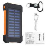 Оригинал LED Компас Водонепроницаемы 6000 мАч 2 USB Портативный Солнечная Батарея Зарядное устройство Солнечная Power Bank Восхождение Крюк