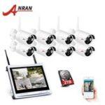 Оригинал ANRAN K08W2L12-03NB 8-канальный NVR 1080P HD H.264 Беспроводная система видеонаблюдения 12-дюймовый ЖК-экран Wifi На открытом воздухе Система безопасности ноч